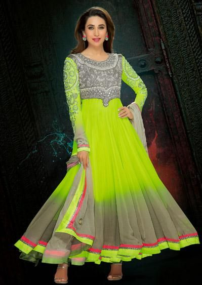 USD 133.09 Karisma Kapoor Green Faux Georgette Zardosi Work Anarkali Salwar Suit 27763