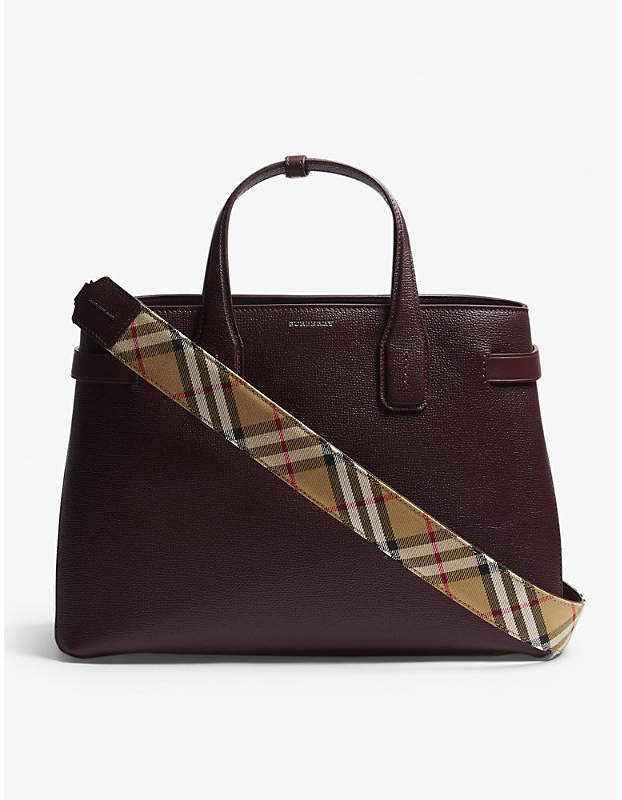 3f3a3e76b Burberry Mahogany Red Check Vintage Banner Grained Leather Tote Bag ...
