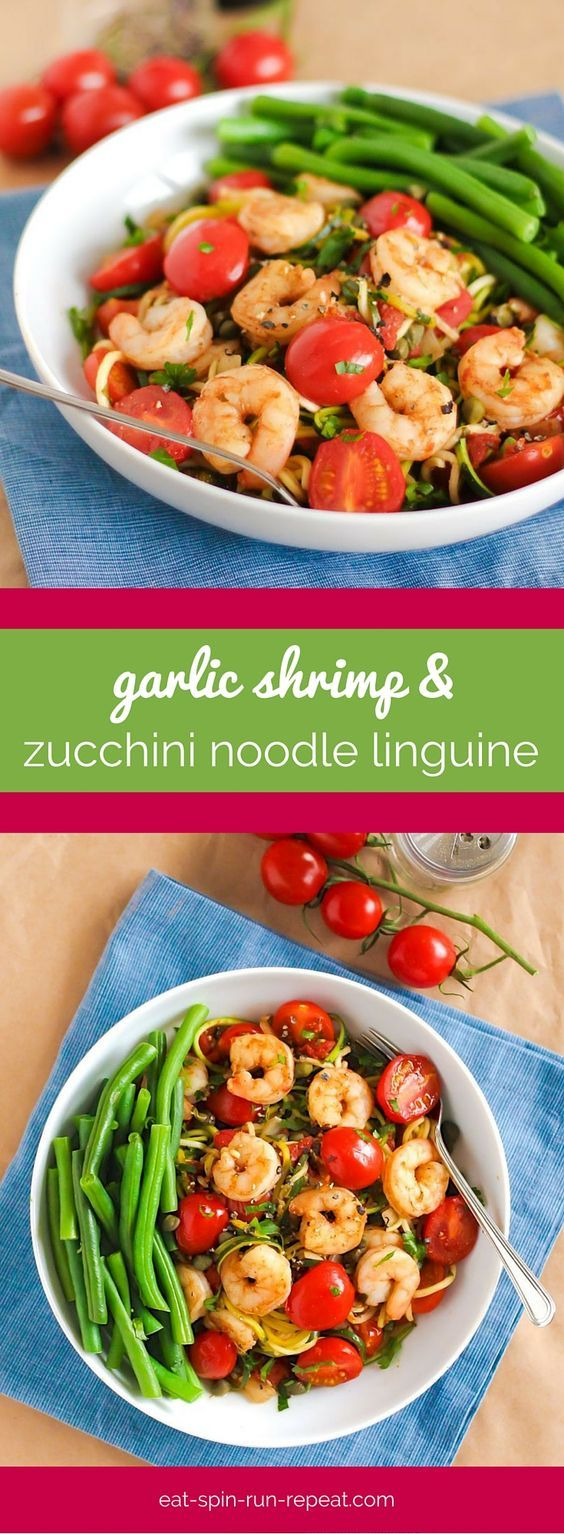 Garlic shrimp and zucchini noodle linguine food for Cucinare noodles