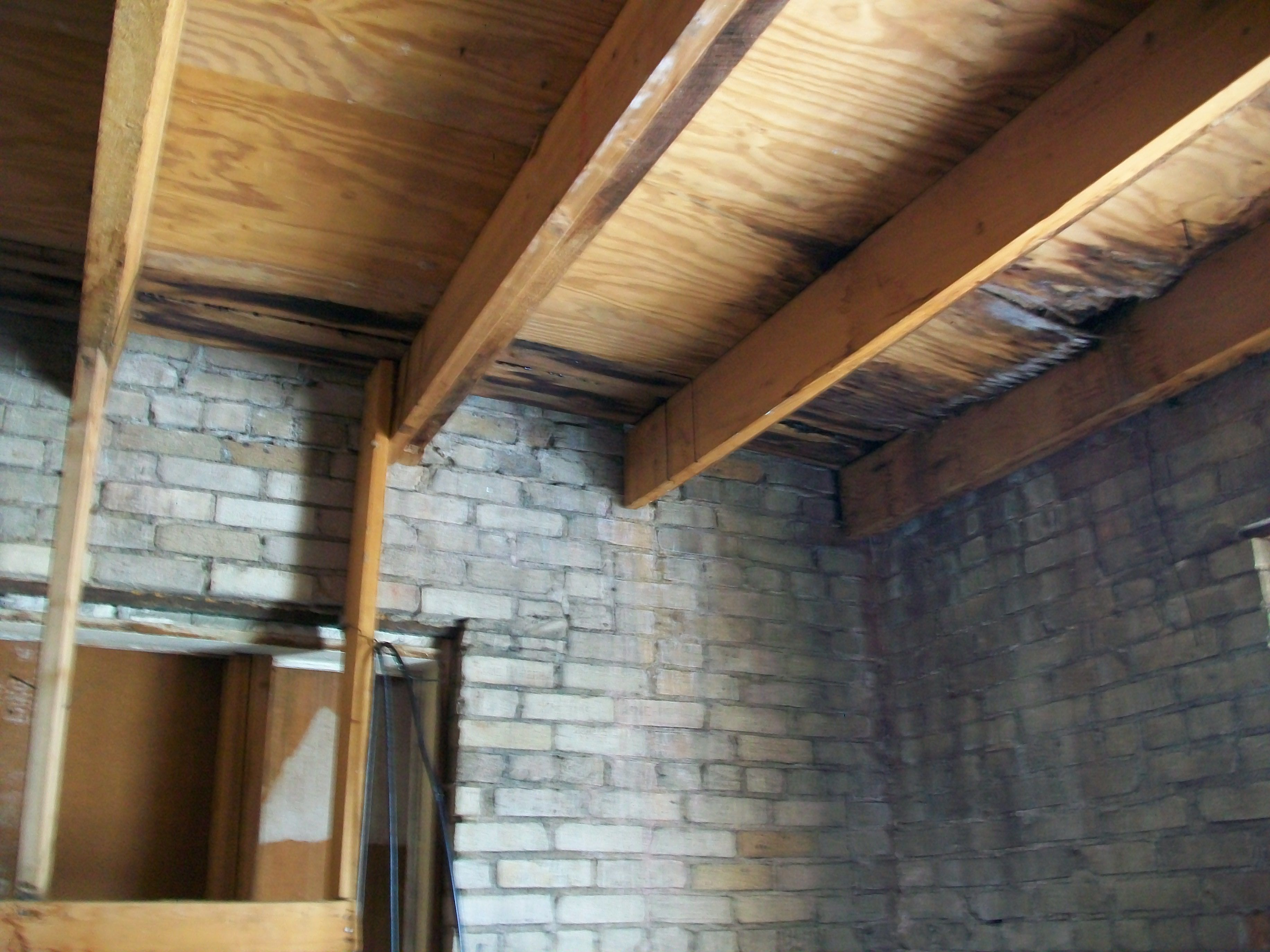 Yup, Water problems!  This is the underside of the roof of the tower.  Doesn't look good, and this was 2009.
