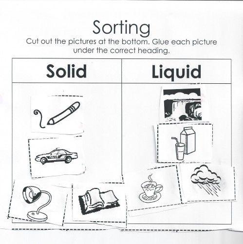 sorting solids and liquids worksheet moms have questions too cool stuff pinterest. Black Bedroom Furniture Sets. Home Design Ideas