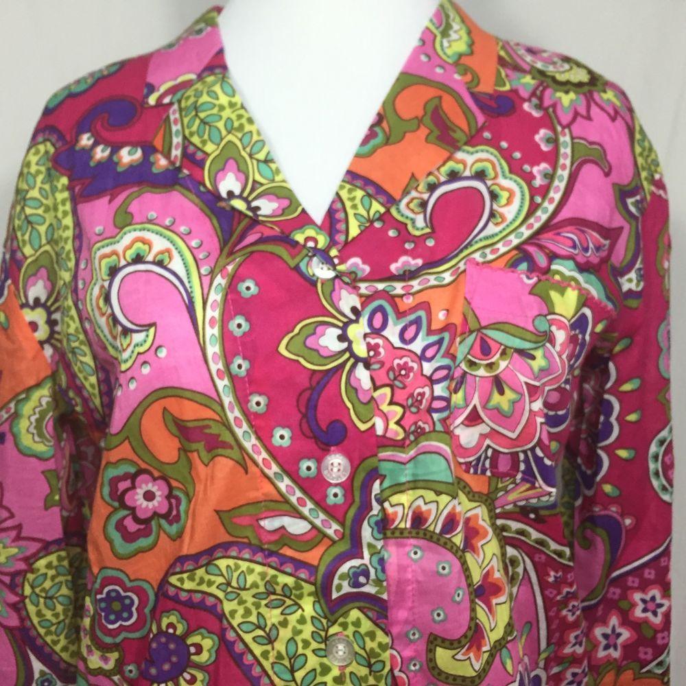Vera Bradley Pajama Top Shirt Sz XS Multi Color Long Sleeve Cotton