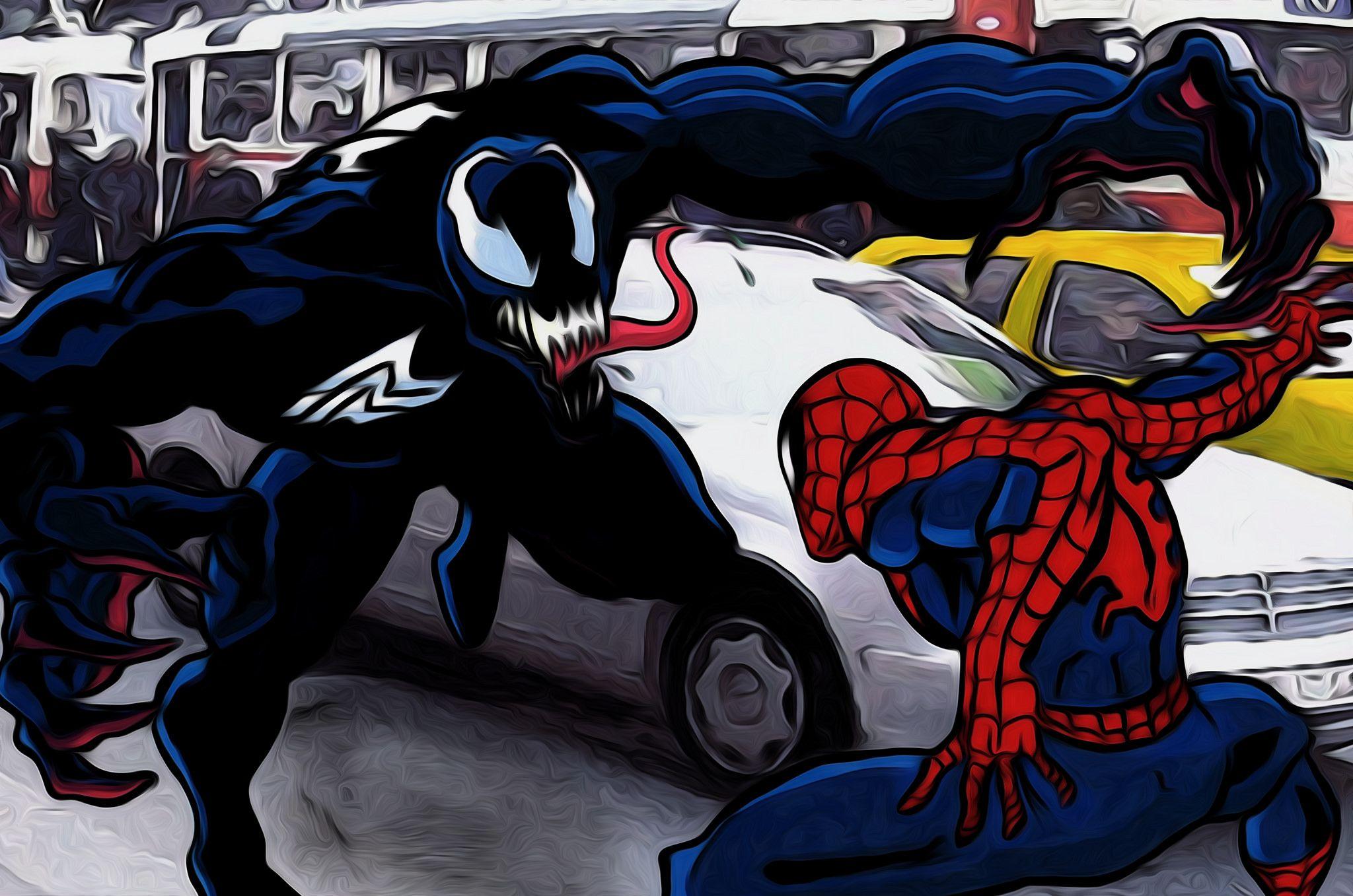 Картинки венома против человека паука