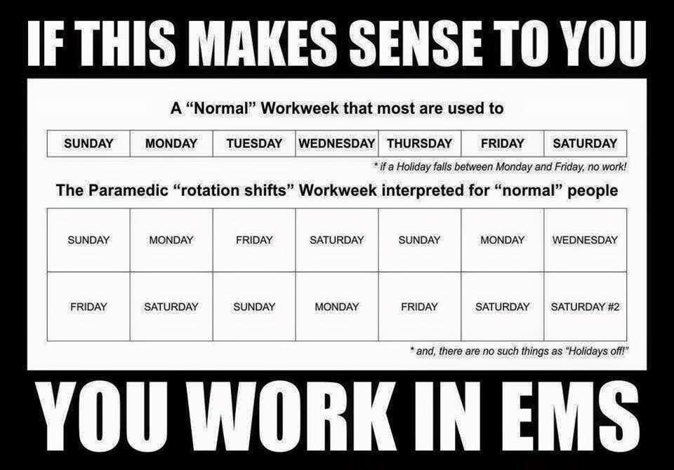 30 Ems Memes That Ll Make You Smile Uniform Stories Paramedic Humor Sunday Monday Tuesday Shift Schedule