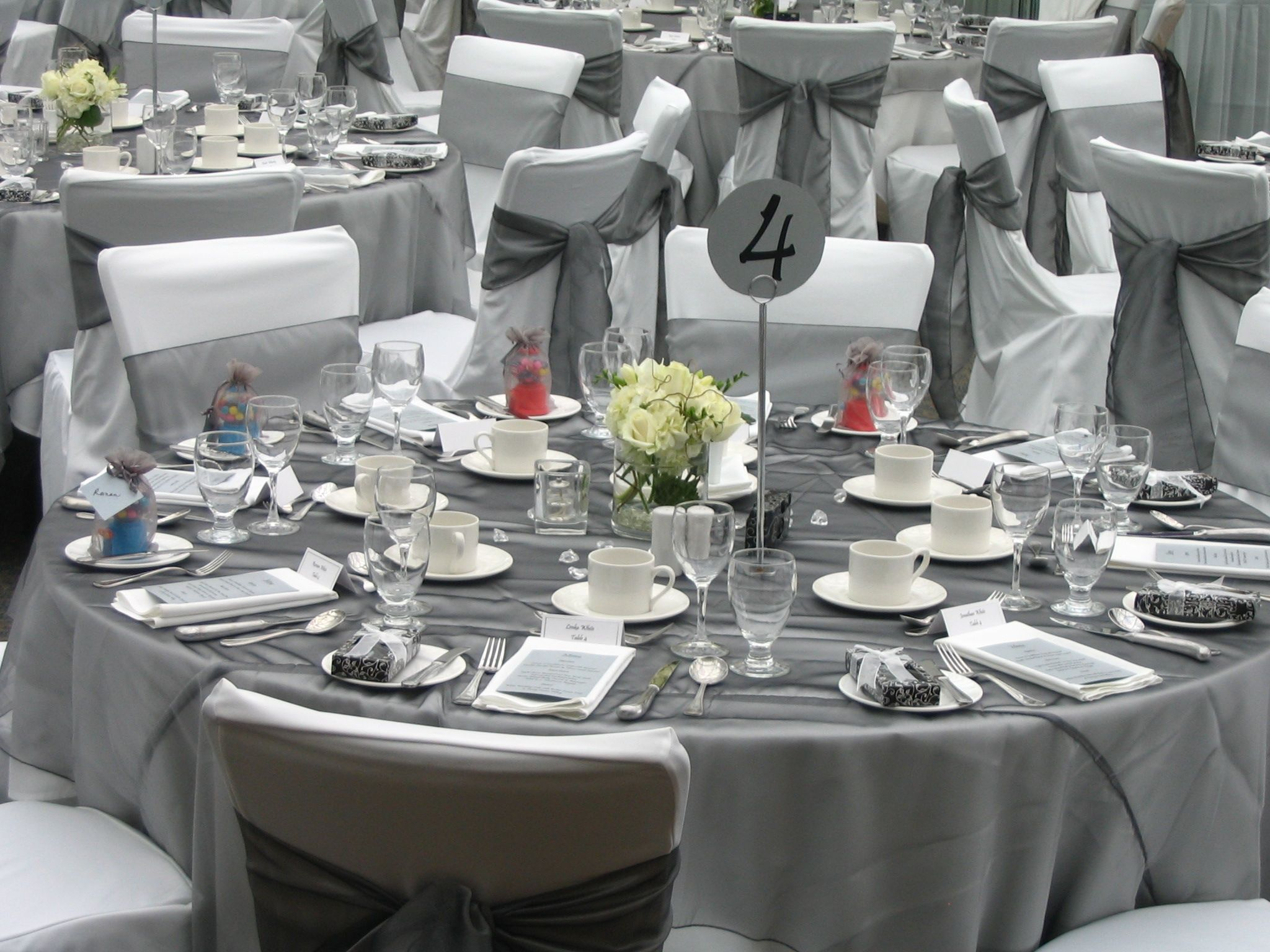 Grey Organza Wedding Table Linen Overlays Sashes And
