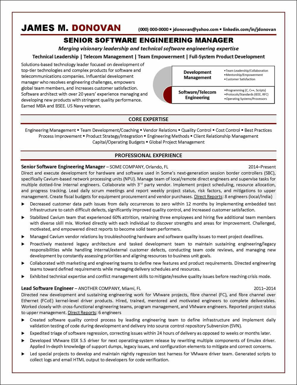 Software Engineer Resume Example Distinctive Career Services Project Manager Resume Job Resume Examples Resume Examples