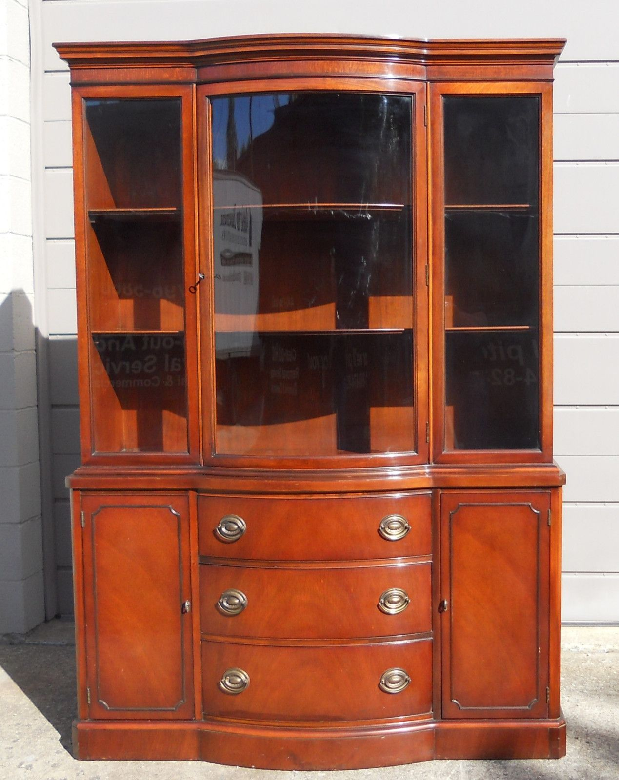 DREXEL Vintage New Travis Court Mahogany Bow Front China Cabinet
