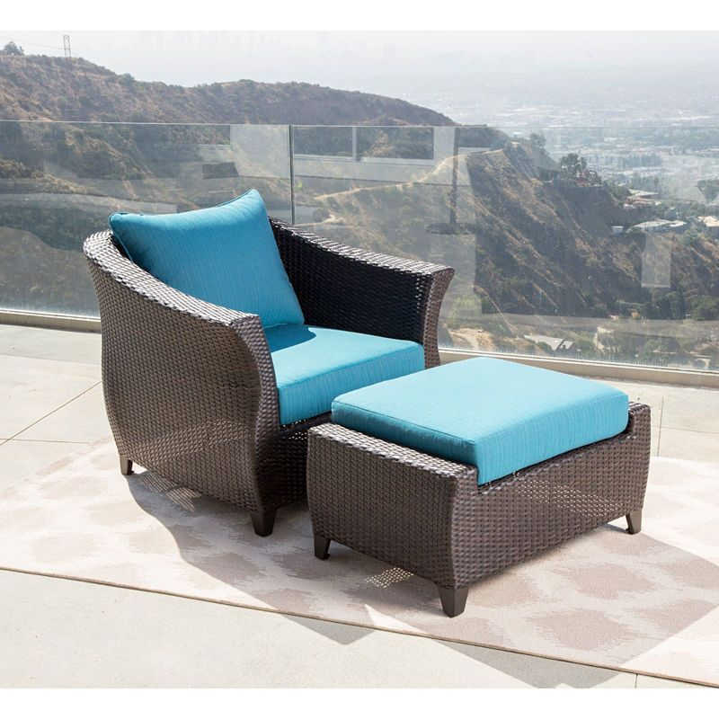 Brooklyn Sunbrella Blue Outdoor Wicker Chair And Ottoman Patio Set