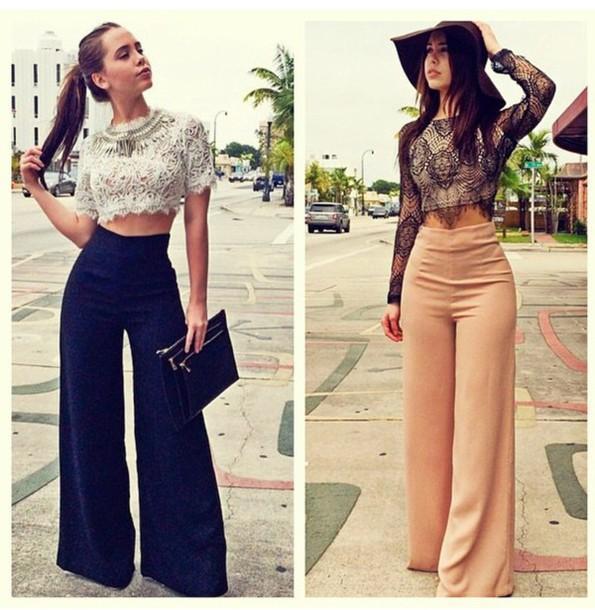 Outfit Con Pantalones Anchos Altos Buscar Con Google Pantalones De Moda Mujer Ropa De Moda Pantalones De Vestir Mujer