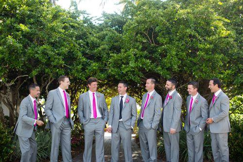 Gray Groomsmen Suits Fuchsia Ties Florida Weddings Ilrated