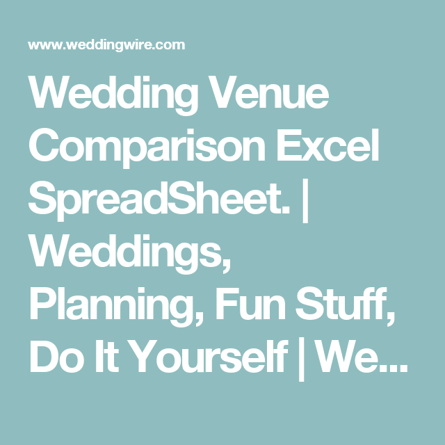 Wedding Venue Comparison Excel Spreadsheet Weddings