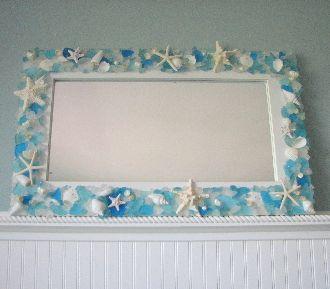 Sea Glass Sea Glass Mirror Beach Glass Mirror Shell