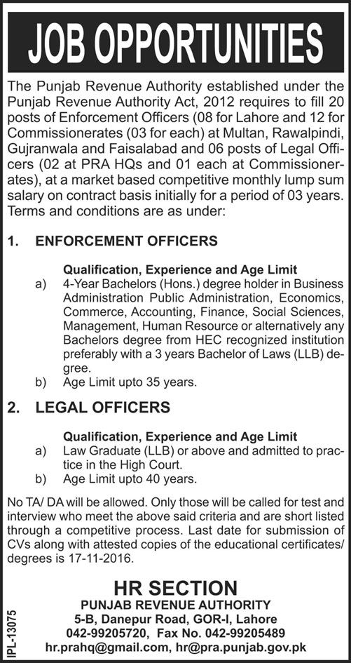 Job Opportunities In Punjab Revenue Authority PRA 29th October - merchandiser job description