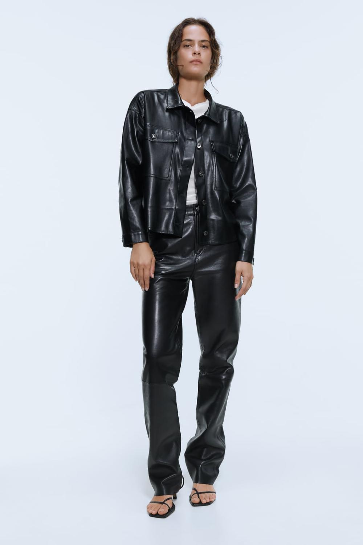 Faux leather overshirt Leather jacket, Leather, Jackets