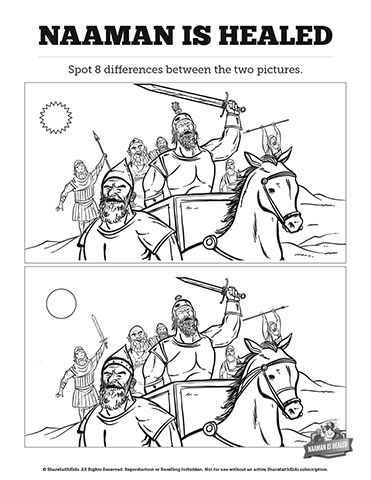 Naaman and elisha coloring pages ~ Naaman The Leper 2 Kings 5 Kids Spot The Difference: Can ...