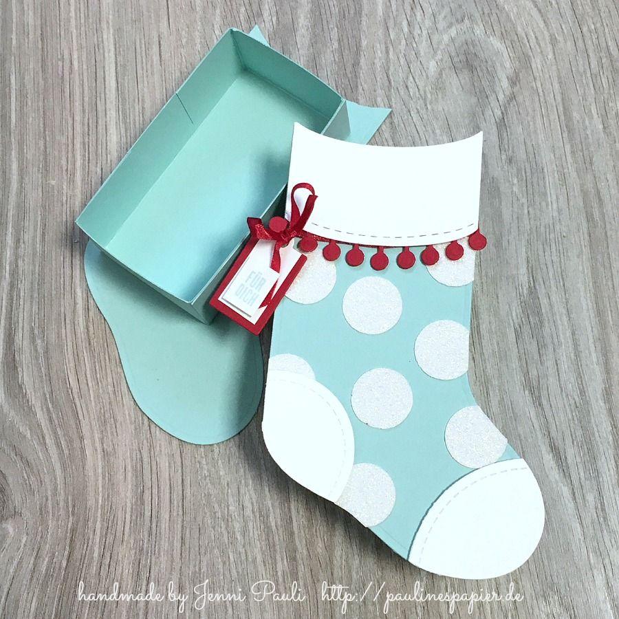 Weihnachtssocken Geschenkverpackung mit Anleitung   Stampin\'Up ...