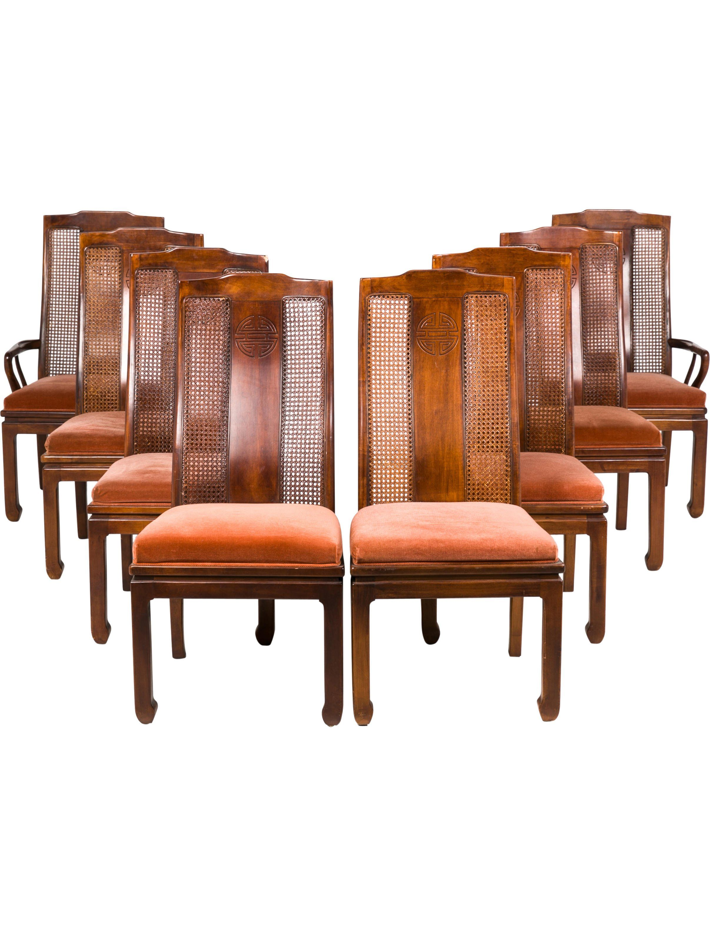 Set Of 8 Vintage Dining Chairs With