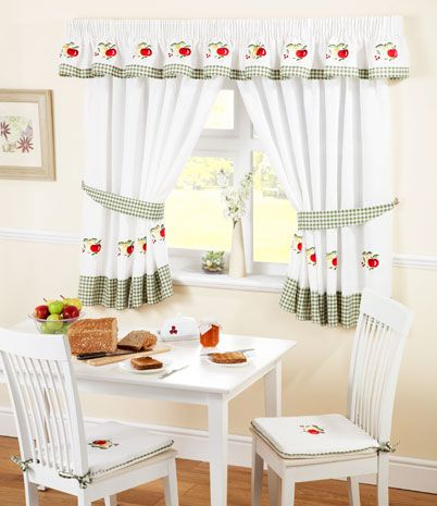 Fruit Kitchen Curtains White/Green | Kitchen curtains, Kitchens and ...