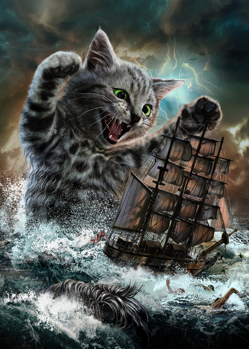 Monster Titan Cat Kraken Poster Print By Fox Republic Displate In 2020 Animal Posters Poster Prints Pop Art Posters