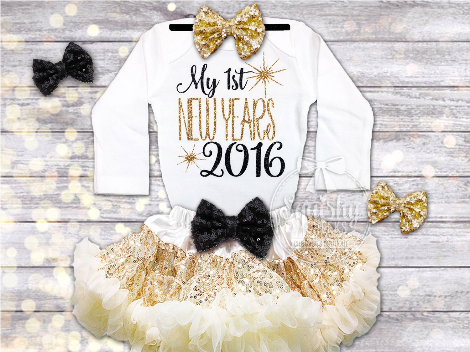 be18c6f7243c5 First New Years Outfit Baby Girl New Years Eve Bodysuit New Years Outfit  2016 Baby Outfit