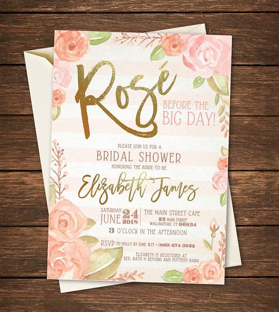 rose bridal shower invitation rose before the big day rose all day