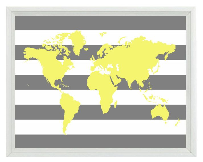 World Map Wall Art Print - Yellow Gray Stripe Decor Nursery Children ...