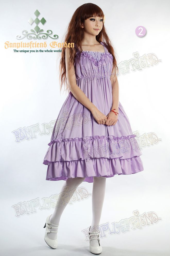 c05226c491 fanplusfriend - Dolly Kei Mix Lolita Empire Waist Basic Frilly JSK Dress
