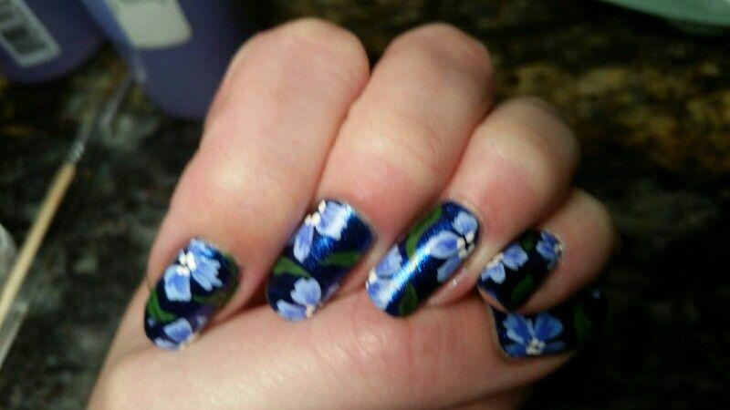 Blue flower nail art.