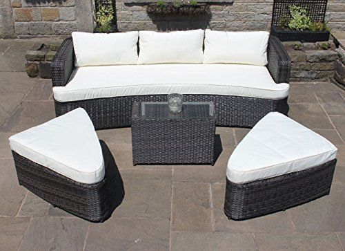 Amazon.de: Braun Rattan Lounge Set Sofa Mit Tisch U0026 Osmanen Outdoor Garten  Möbel