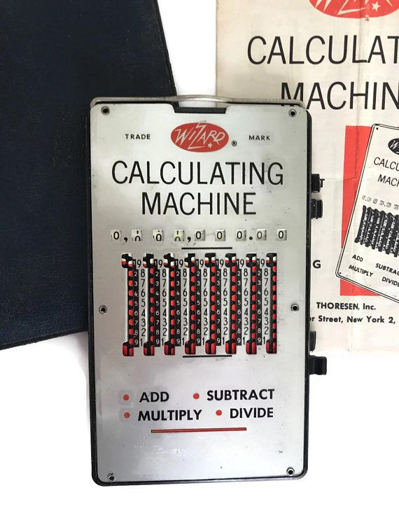 Vintage 50s Calculating Machine Wizard Calculator Math 1950s Office Supplies Original Case Metal In 2018 Merrily Verily
