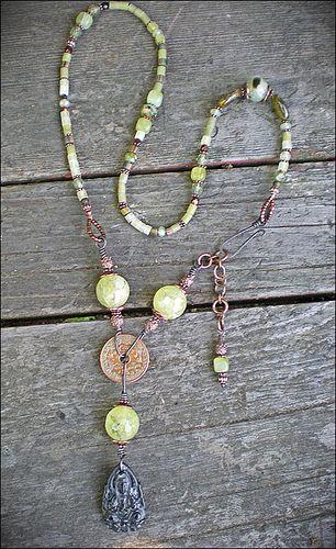 Prehnite Kwan Yin Amulet Necklace by Maggie Zee