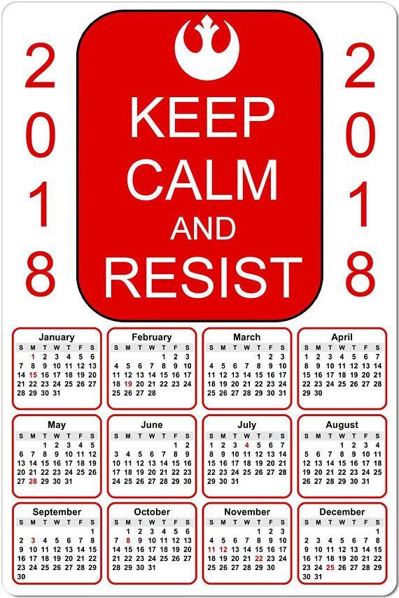 Keep Calm and Resist 2018 Full Year View 8 Calendar 2018 Calendars