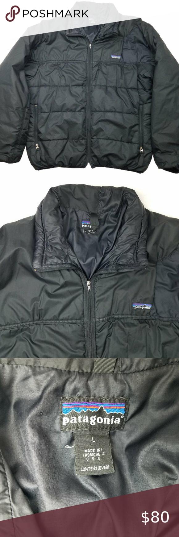 Patagonia Black Puffer Jacket Coat Large Men S Vintage Patagonia Black Puffer Insulated Jacket The Jacket Is I Black Puffer Jacket Black Puffer Clothes Design [ 1740 x 580 Pixel ]