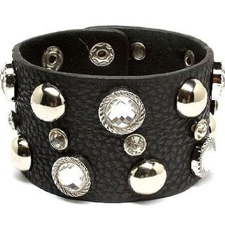 Black and Silver bracelet with crystal and diamond accents.