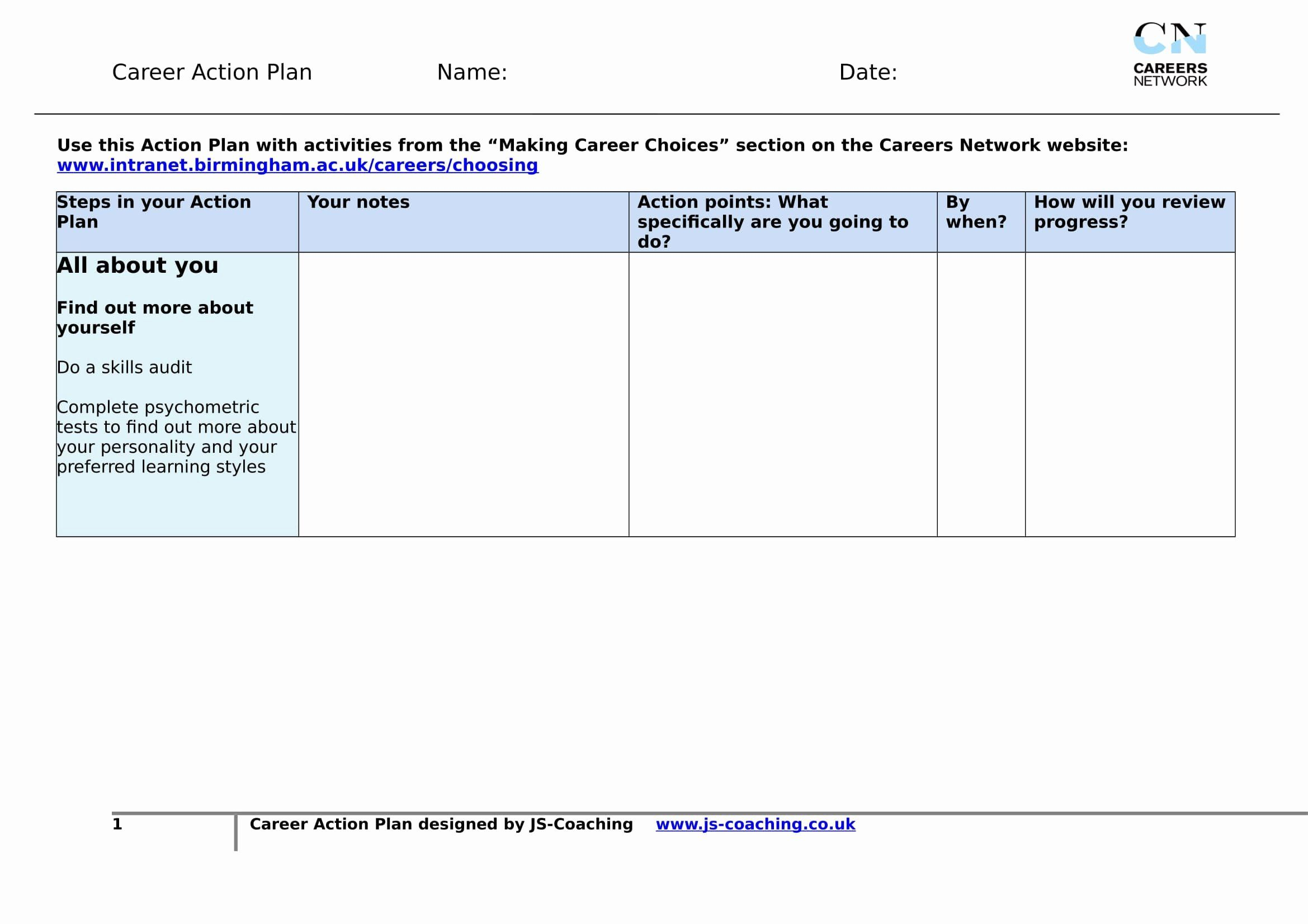 Career Action Plans How To Plan Action Plan Template Action Plan