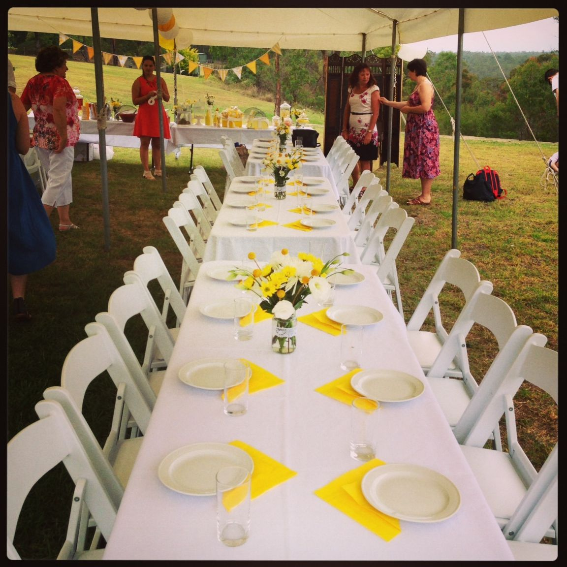 Yellow and white vintage engagement party table setting | Lots of ...