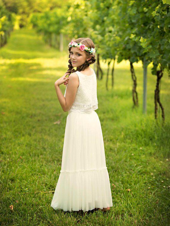 5bb690128e Boho-chic Flower Girl Dress