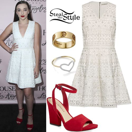 Kendall Vertes attended the House of CB Los Angeles Flagship Store Launch wearing an Alice + Olivia Reba Embroidered Dress ($478.80), a Jordan Askill Agate Enamel Heart Ring ($255.00), a Cartier Love Yellow Gold Ring ($1,650.00) and Via Spiga Piper Ankle Strap Sandals ($195.00).