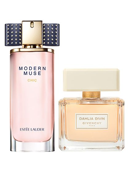 """Imagine a deep-plum lipstick—a little moody,a little dark, and very sexy, right? In perfume, plum smells the same way: """"It's warmer than other fruits and a little dangerous,"""" says perfumer Kilian Hennessy. Estée Lauder Modern Muse Chic and Givenchy Dahlia Divin make plum smell even sexier with a hint of spicy patchouli."""