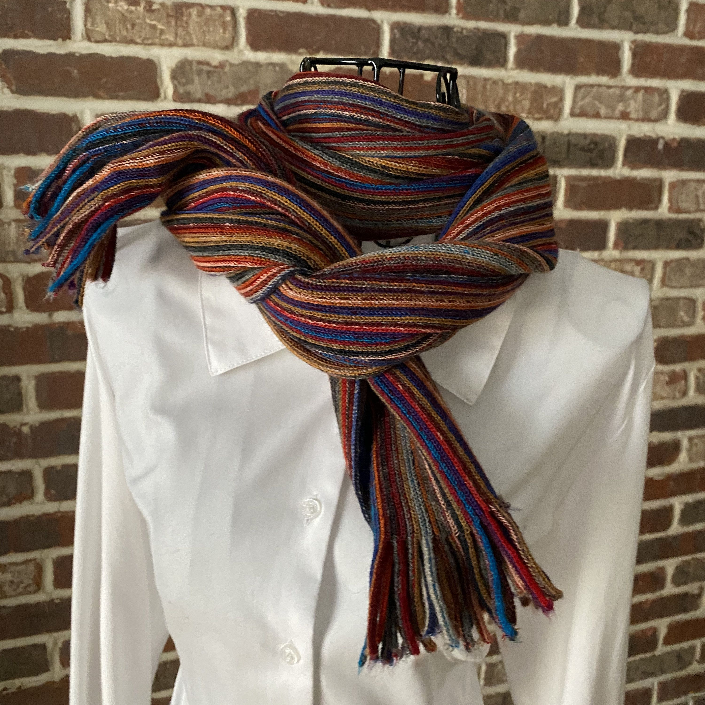 Vintage Multicolored Stripped Winter Scarf Made By Austin Reed Pure New Wool Extra Long Ribbed Blue Red Green And Gray Scar Scarf Styles Winter Scarf Scarf