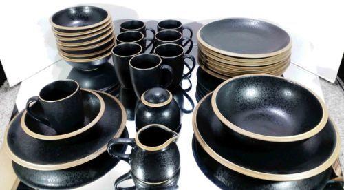 Dansk santiago black dinnerware 16 piece stoneware setting w/ completer set & Dansk santiago black dinnerware: 16 piece stoneware setting w ...