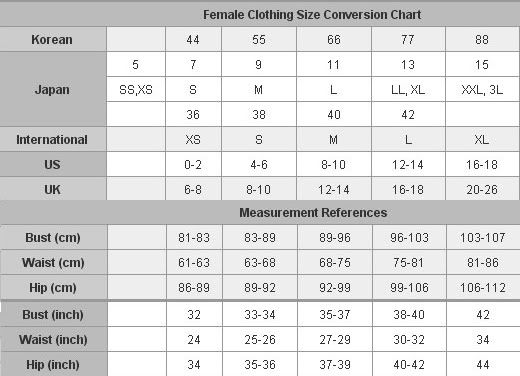 Image result for size chart women's clothing