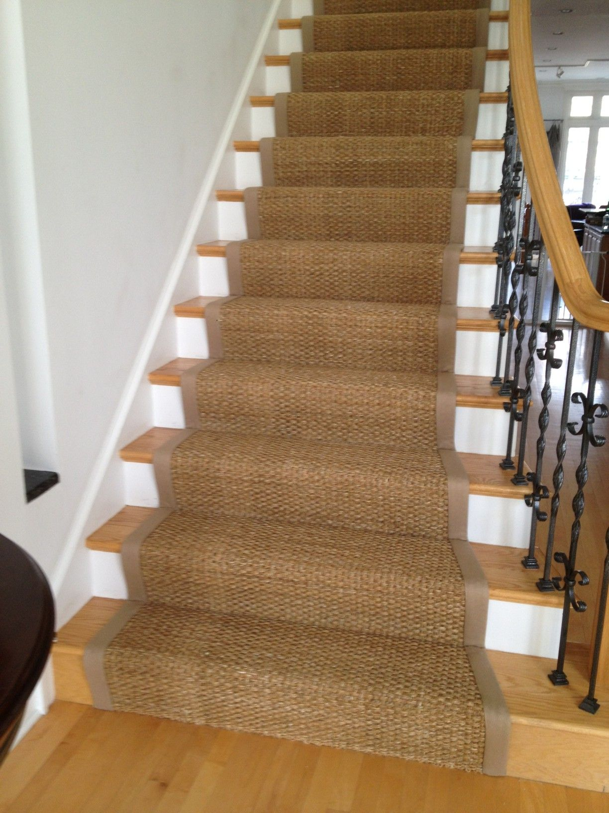 Seagrass Stair Runner With Cotton Wide Binding Stair Runner