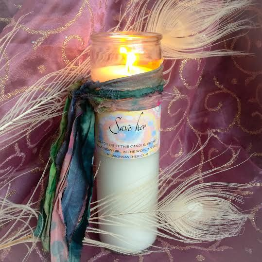 SAVE HER Candle for Peace benefitting the Mission Save Her Campaign by TheSageGoddess