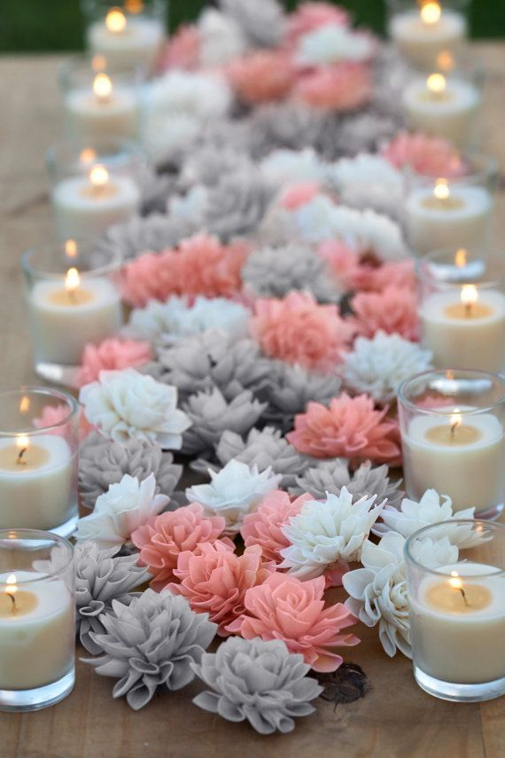 15 Coral And Grey Mixed Wooden Flowers Wedding Decorations Table Decor