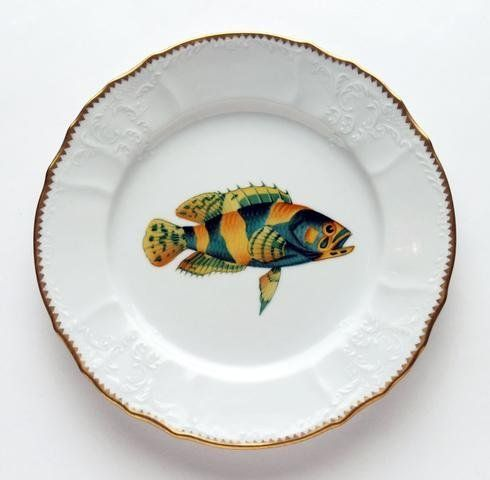 Anna Weatherley Antique Fish 9.5 In Dinner Plate No. 2 by Anna Weatherley. $318.00. Bright tropical fish adorn this dinnerware set; great for mixing with other Anna Weatherley dishes. And for a subtle hint of glamour, every piece is hand edged in gold. Anna Weatherley?s designs are based on botanical sketches from the 18th century as well as Dutch still-life paintings. At home, we find her pieces look just as good on our tables as they do on our walls. Material: Hand-edged chin...