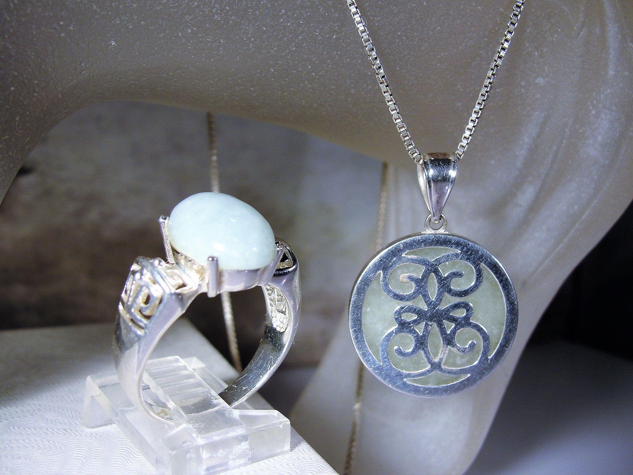 Jadeite jewelry set jadeite necklace jadeite ring light green