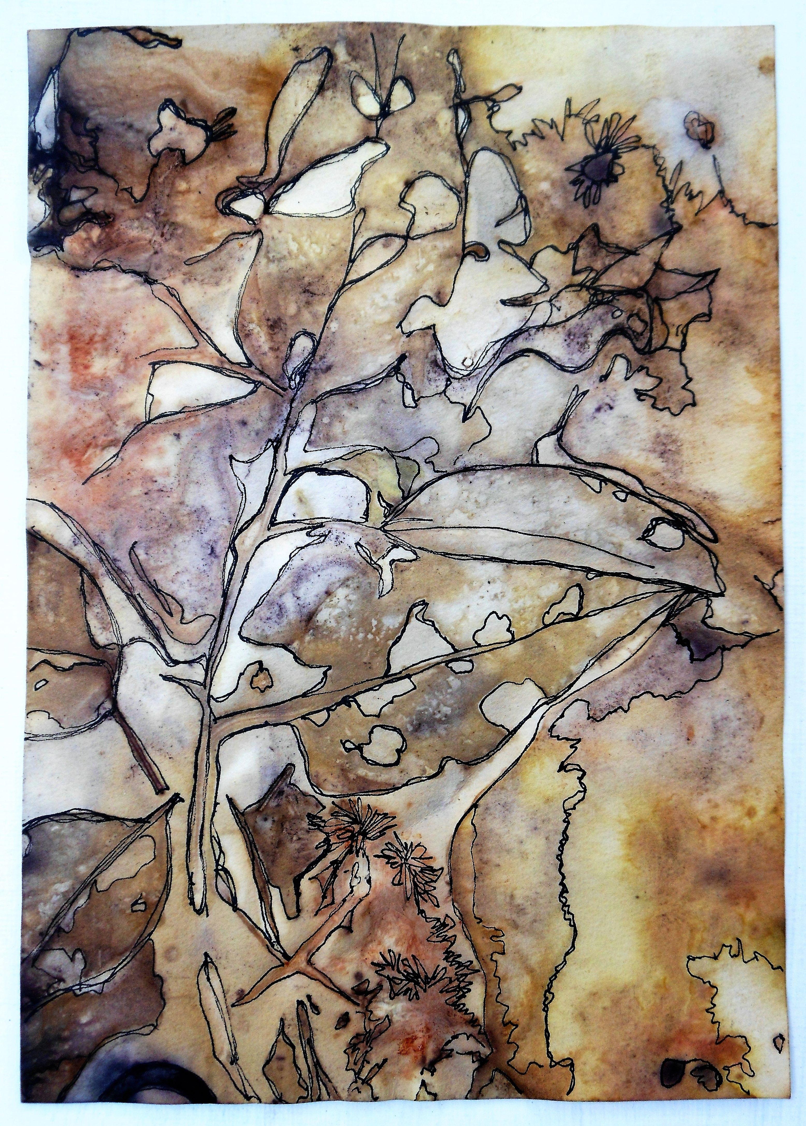 Eco Printing On 140 Watercolor Paper Rose Leaves Wool Felt