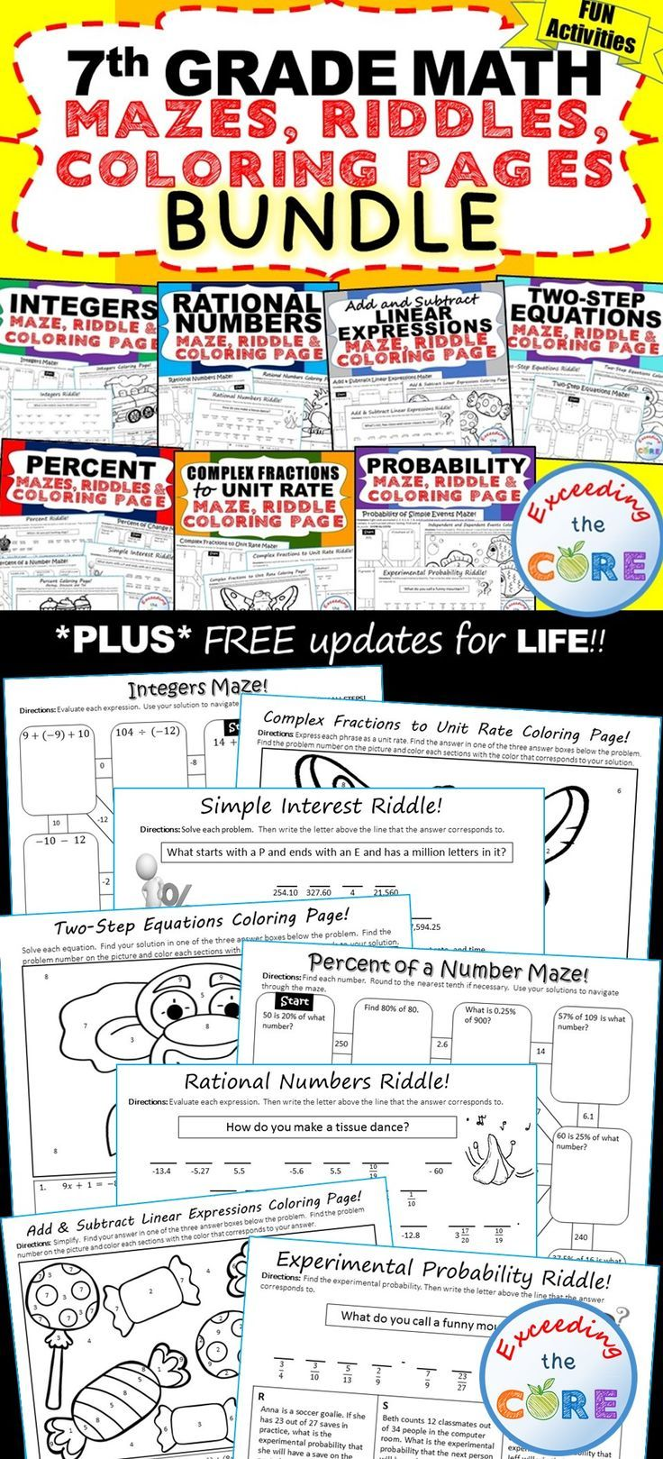 7th Grade Math Mazes Riddles Coloring Pages Fun Math