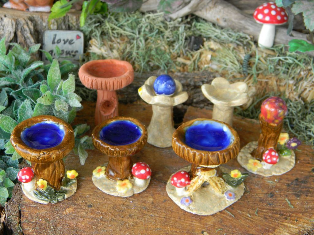 Fairy Bird bath Miniature and Gazing ball ...great for gnome and ...
